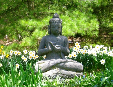 Buddha figure in the Vermont Zen Center garden